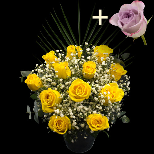 A single Lilac Rose surrounded by 11 Yellow Roses