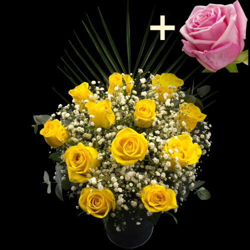 A single Pink Rose surrounded by 11 Yellow Roses