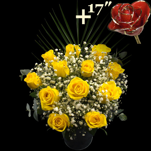 A single 17Inch Gold Trimmed Red Rose surrounded by 11 Yellow Roses