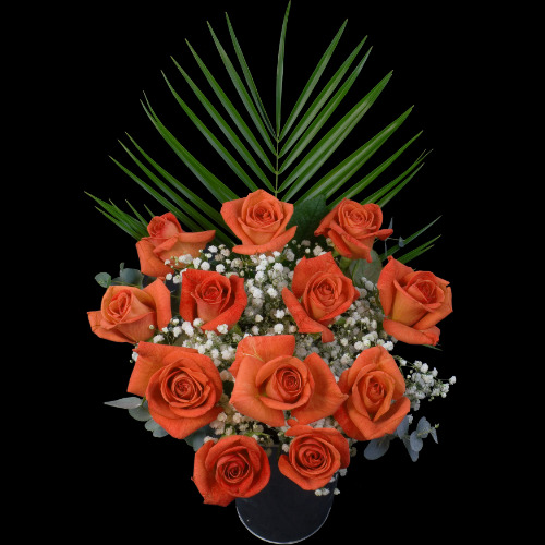 A single Happy Rose surrounded by 11 Orange Roses