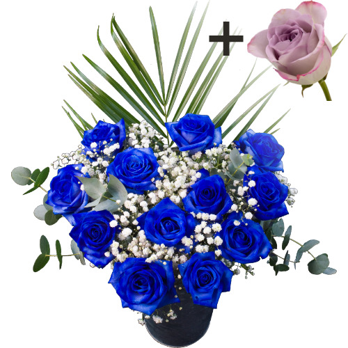 A single Lilac Rose surrounded by 11 Blue Roses