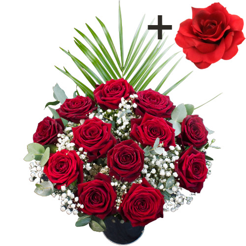 A single Red Silk Rose surrounded by 11 Deep Red Naomi Roses