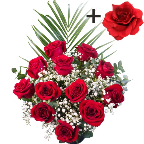A single Red Silk Rose surrounded by 11 Bright Red Freedom Roses