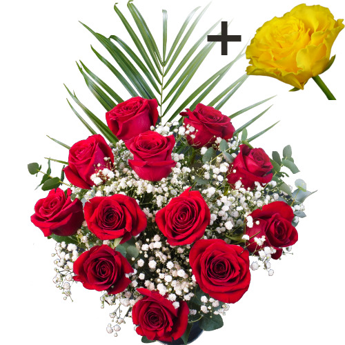 Image of A single Yellow Rose surrounded by 11 Bright Red Freedom Roses