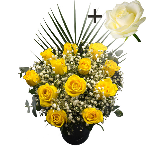 A single White Rose surrounded by 11 Yellow Roses