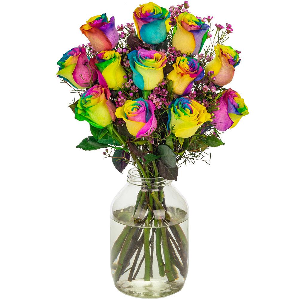 Flowers 12 Happy (Rainbow) Roses