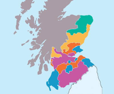 Colour-coded map of Scottish delivery areas